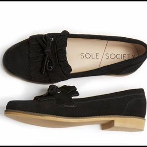 Sole Society Huxley Black Cow Suede Loafer size 6